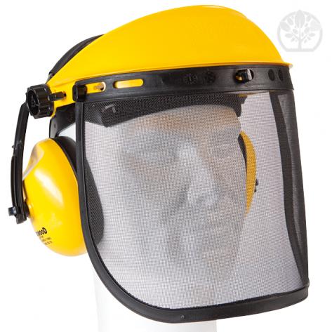 Visière de protection. Ecran métallique grillagé + protection auditive