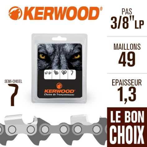 """Chaîne tronçonneuse Kerwood 49 maillons 3/8""""LP ,1,3 mm. Semi-Chisel"""