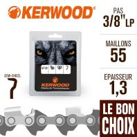 "Chaîne tronçonneuse Kerwood 55 maillons, 3/8"" ,1,3 mm. Semi-Chisel"