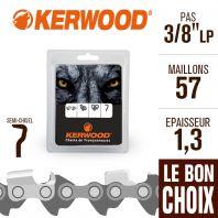 """Chaîne tronçonneuse Kerwood 57 maillons 3/8""""LP,1,3 mm. Semi-Chisel"""