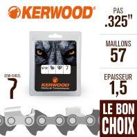 "Chaîne tronçonneuse Kerwood 57 maillons 325"", 1,5 mm. Semi-Chisel"