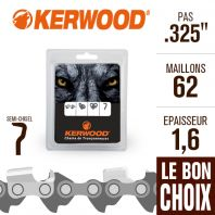 "Chaîne tronçonneuse Kerwood 62 maillons 325"", 1,6 mm. Semi-Chisel"