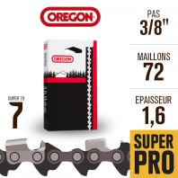 """Chaîne tronçonneuse Oregon 72 maillons Super 70 3/8"""", 1,6 mm. 75LPX072E"""