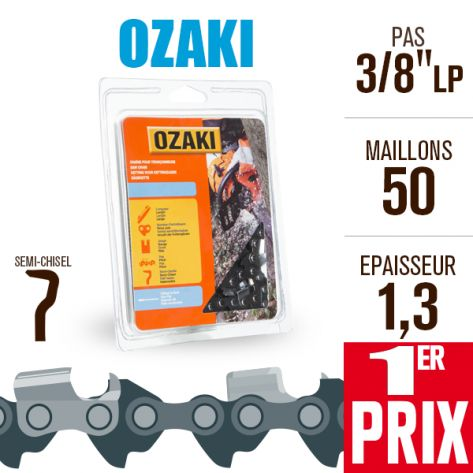 """Chaîne tronçonneuse Ozaki 50 maillons 3/8"""" LP, 1,3 mm CD40"""
