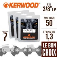 """3 chaînes tronçonneuse Kerwood 50 maillons 3/8""""LP, 1,3 mm. Semi-Chisel"""